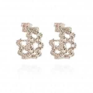 282a04376 2 line diamond cut classic loop earrings