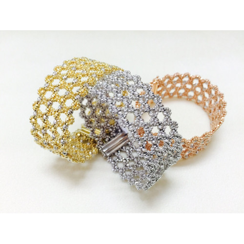 4 line diamond cut bracelet/cuff
